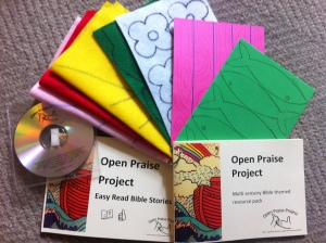 An image of the pack showing a Bible story book, CD rom, guidance and craft materials